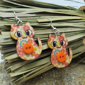 Flower Cat Earrings Crazy Cat Lady Earrings Wood